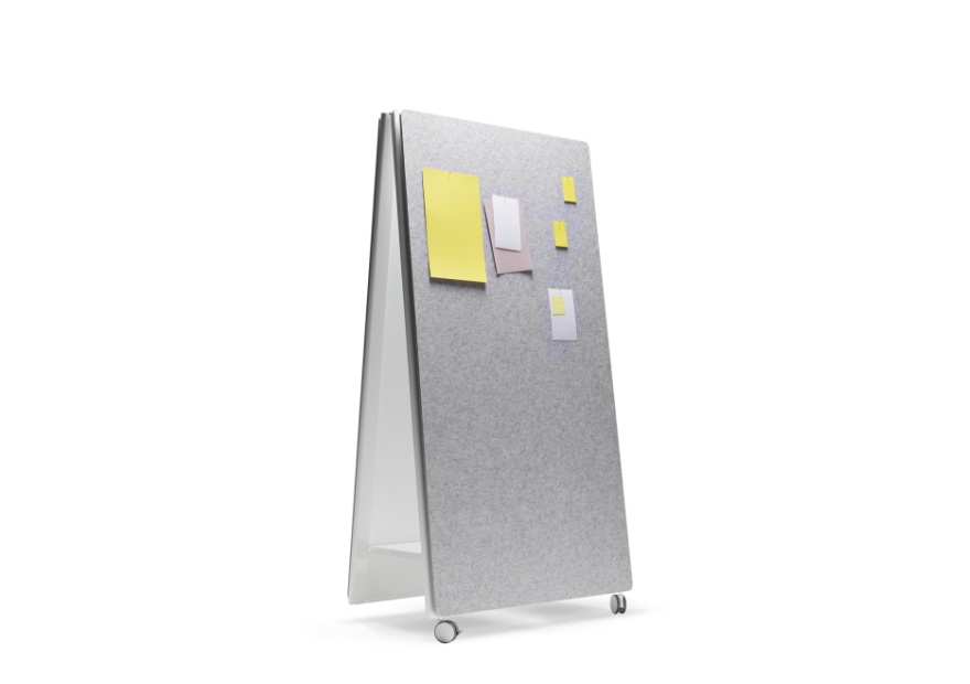 Moving Pinboard Acoustic Panel grau _3_ mit Moving Wall 880x620