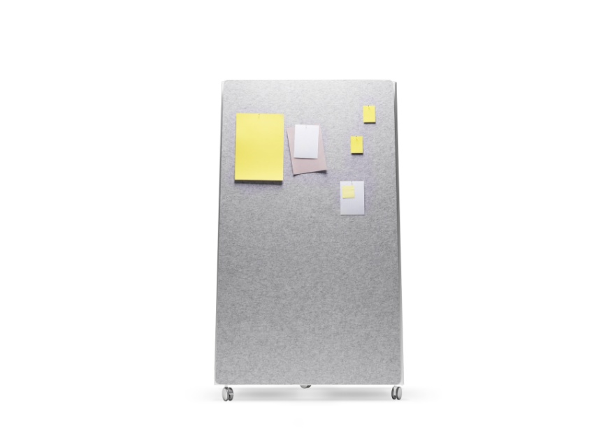 Moving Pinboard Acoustic Panel grau _4_ mit Moving Wall 880x620
