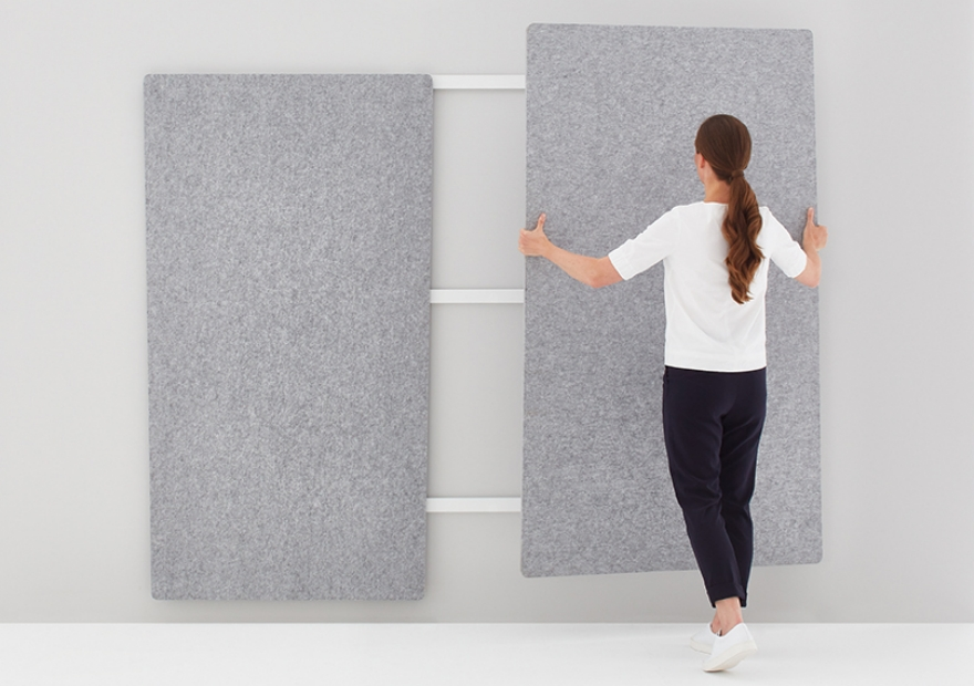 Moving Pinboard Acoustic Panel grau mit Model _3_ 880x620