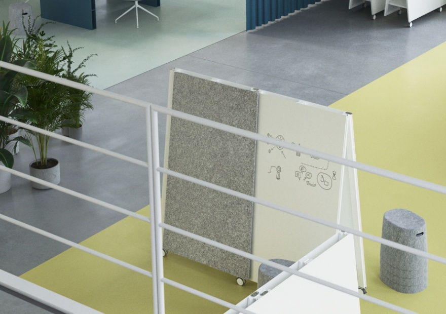 Moving Pinboard Acoustic Panel grau mit Moving Wall und Moving Stool_1_ 880x620