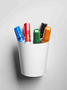 set-of-5-pilot-whiteboard-markers-with-magnetic-pen-holder-moving-cup-for-design-thinking-kanban-scrum