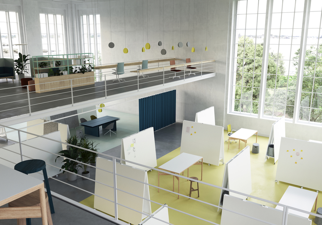 agile workshop zone with office furniture for design thinking by moving walls