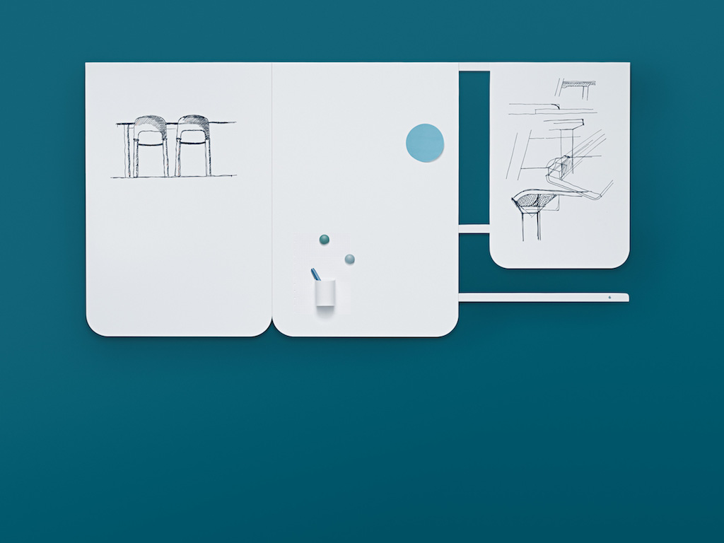 Mobile white boards serving as magnetic kanban boards with wall rails for agile project rooms