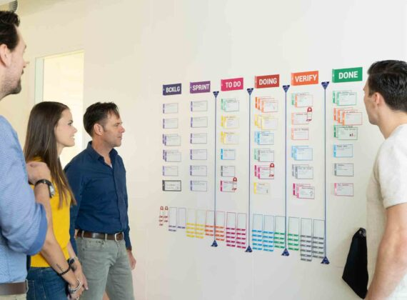 kanban scrum board physical task cards for agile projectteams