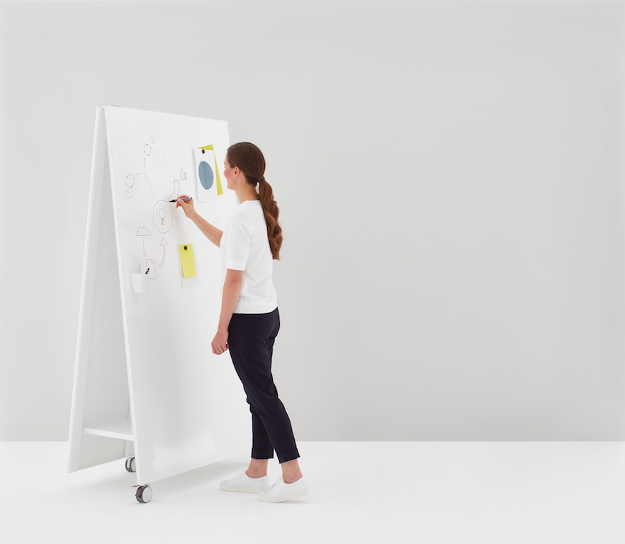 Moving Wall as a mobile and magnetic white board on wheels for design thinking, workshops, scrum and kanban
